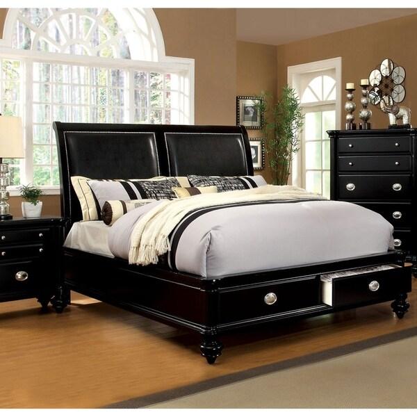 Furniture of America Jigh Modern Black Solid Wood Padded Platform Bed