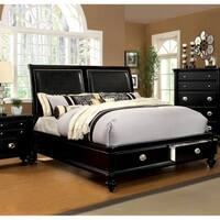 Modern Black Platform Bed with Drawers by FOA