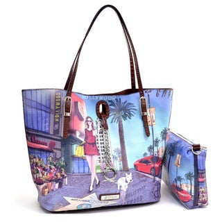 Hollywood Print Flat Bottom 2-in-1 Tote with Chain Lock