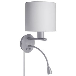 Satin Chrome and White Fabric Wall Sconce with LED Reading Lamp