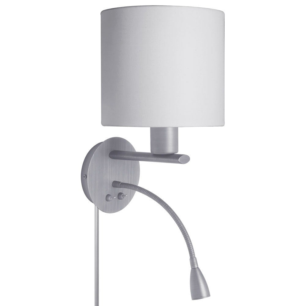 White Fabric Wall Sconce With Led