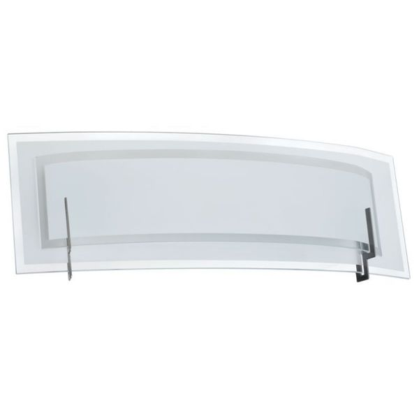 Satin Chrome and Clear Frosted Glass 2-light Vanity Fixture with Frosted Bottom Diffuser