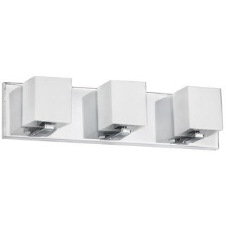 Polished Chrome and Frosted White Glass 3-light Vanity Fixture
