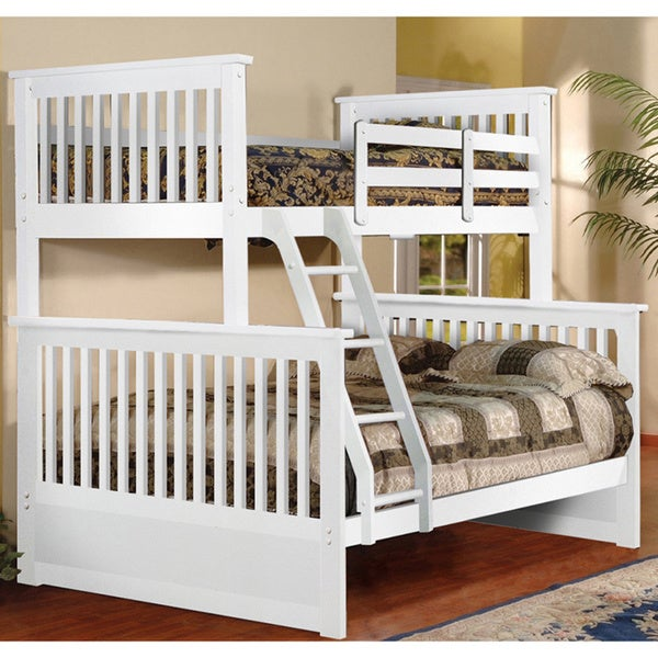 White Twin over Full Hardwood Bunk Bed Free Shipping