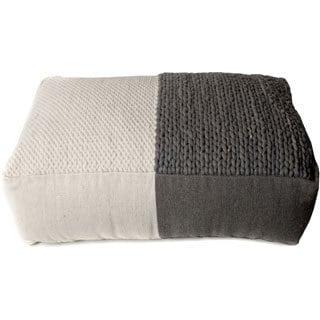 Trendsage Plain Braided Grey/ White Double Pouf Ottoman