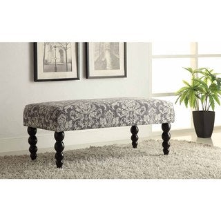 Linon Claire Grey Damask Fabric Ottoman Bench - Overstock