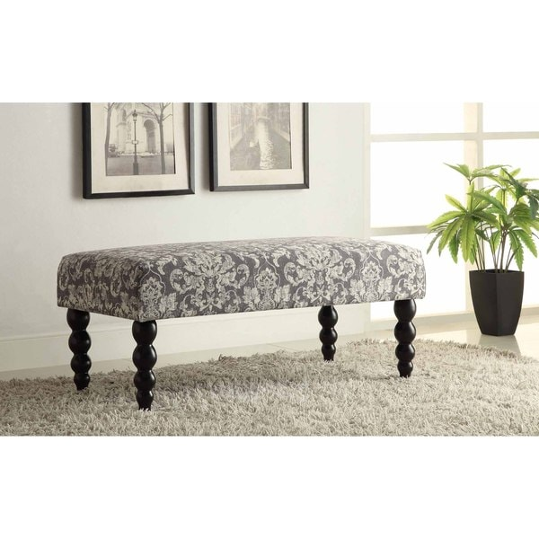 Marvelous Damask Bench Part - 3: Linon Claire Grey Damask Fabric Ottoman Bench