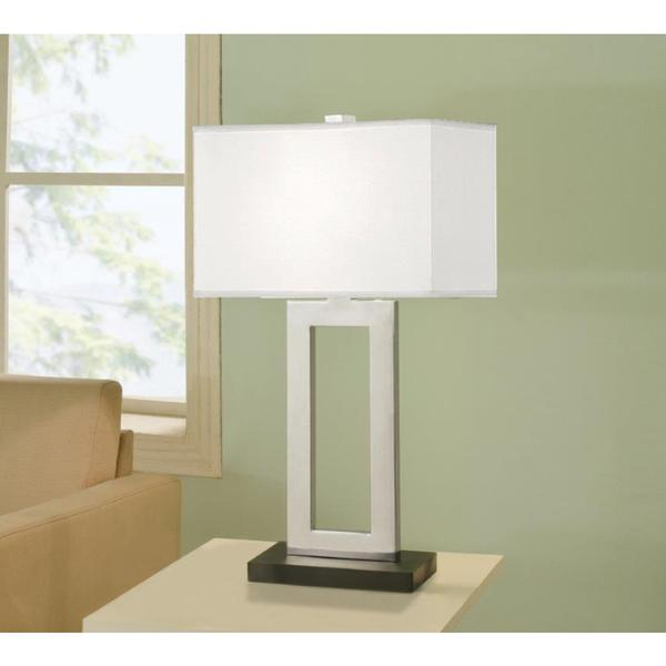 artiva usa geometric 29 inch chrome black contrast table lamp with rectangular