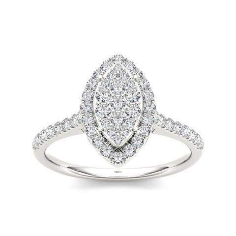 De Couer IGI Certified 10k Gold 3/4ct TDW Diamond Marquise Engagement Ring - white