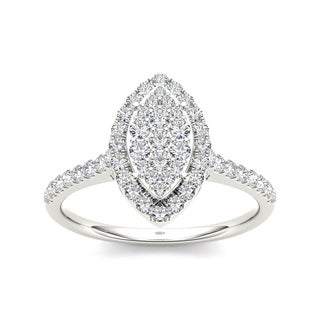 De Couer 10k Gold 3/4ct TDW Diamond Marquise Engagement Ring