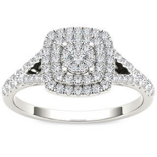 De Couer 10k White Gold 1/2ct TDW Diamond Cushion Shape Double Halo Engagement Ring