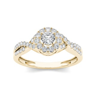 De Couer 10k Yellow Gold 1/2ct TDW Diamond Engagement Ring (H-I, I2)