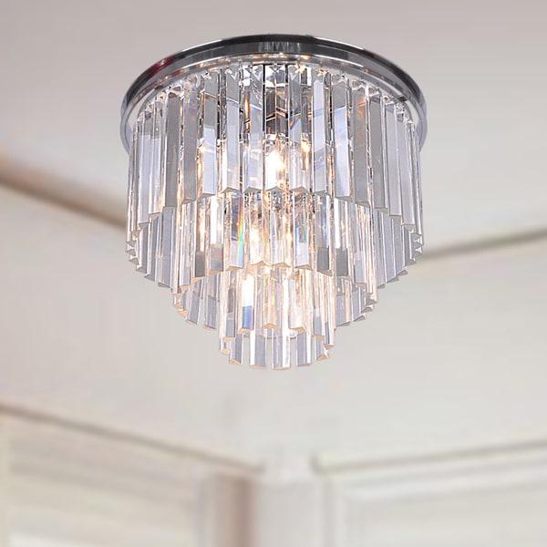 Justina 5 light Crystal Glass Prism 3 tier Flush Mount