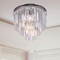 The Lighting Store Justina Chrome Iron/Crystal/Glass 5-light Prism 3-tier Flush-mount Chrome Chandelier