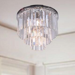 Justina 5-light Crystal Glass Prism 3-tier Flush Mount Chrome Chandelier