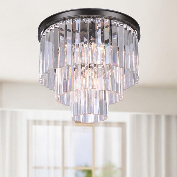 The Lighting Store Justina Antique Black Iron/Crystal/Glass 5-light Prism 3-tier Flush-mount Chandelier