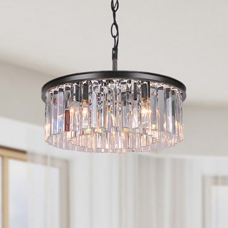 Justina 5-light Antique Black Chandelier with Crystal Glass Prisms