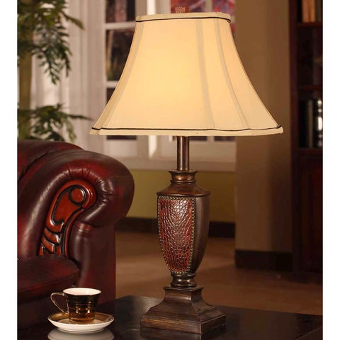 Antique Brushed Red Table Lamp (Set of 2)