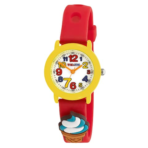 Kids' Party Time Theme Red Watch with Interchangeable Adornments