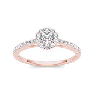 De Couer 10k Rose Gold 1/2ct TDW Diamond Solitaire Engagement Ring (H-I, I2)