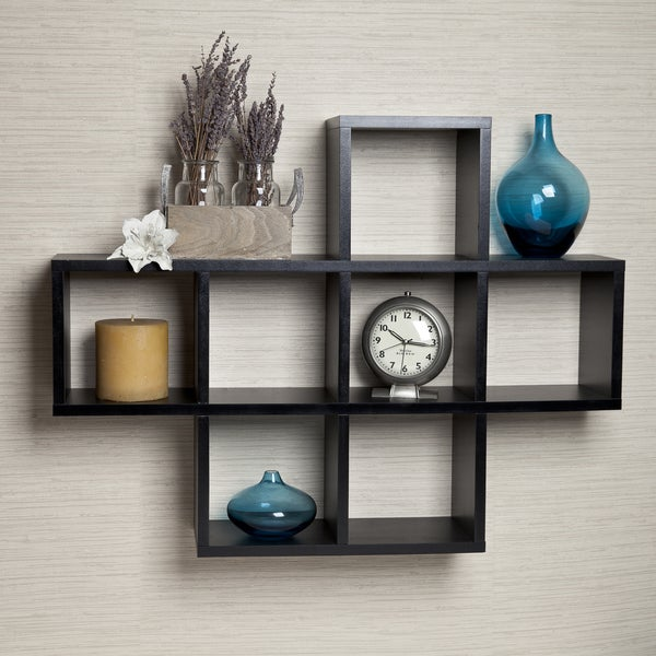 Shop Cubby Black Laminate Shelving Unit Free Shipping On