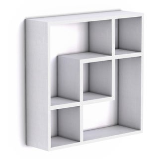 Geometric Square  Wall Shelf with Five Openings - White