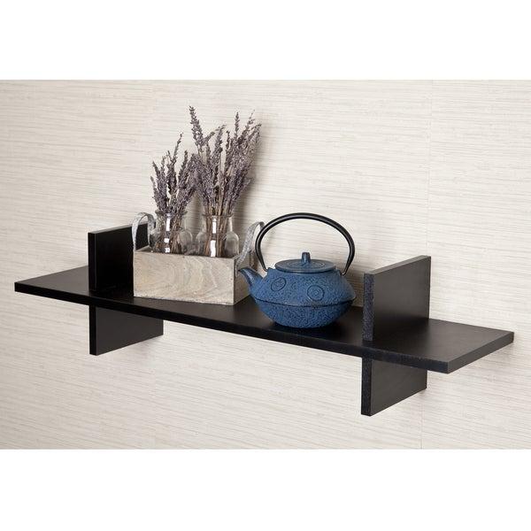 "Decorative ""H"" Shaped Black Laminate Wall Shelf"