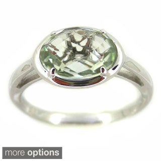 Kabella Sterling Silver Faceted Oval Prong Set Gemstone Ring