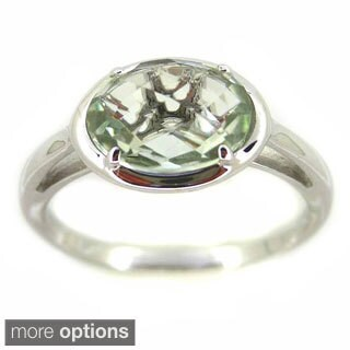 Kabella Sterling Silver Faceted Oval Prong Set Gemstone Ring (3 options available)