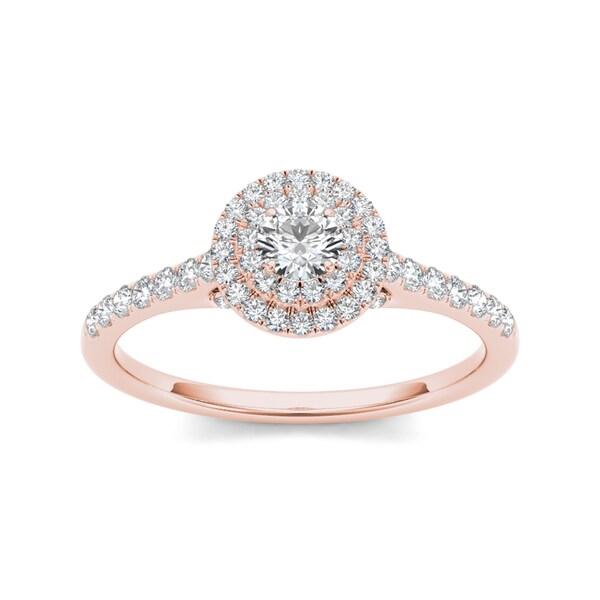 De Couer 10k Rose Gold 1/2ct TDW Diamond Double Halo Engagement Ring