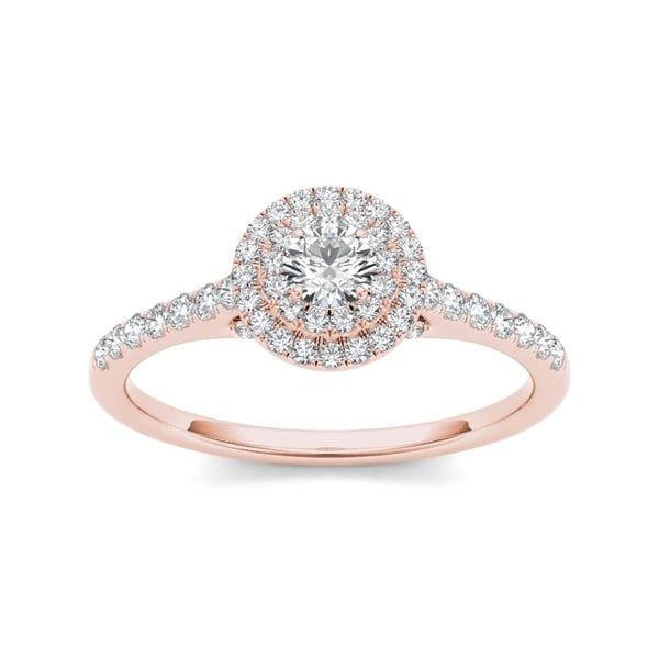De Couer 10k Rose Gold 1/2ct TDW Diamond Double Halo Engagement Ring - White