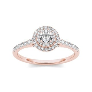 De Couer 10k Rose Gold 1/2ct TDW Diamond Double Halo Engagement Ring