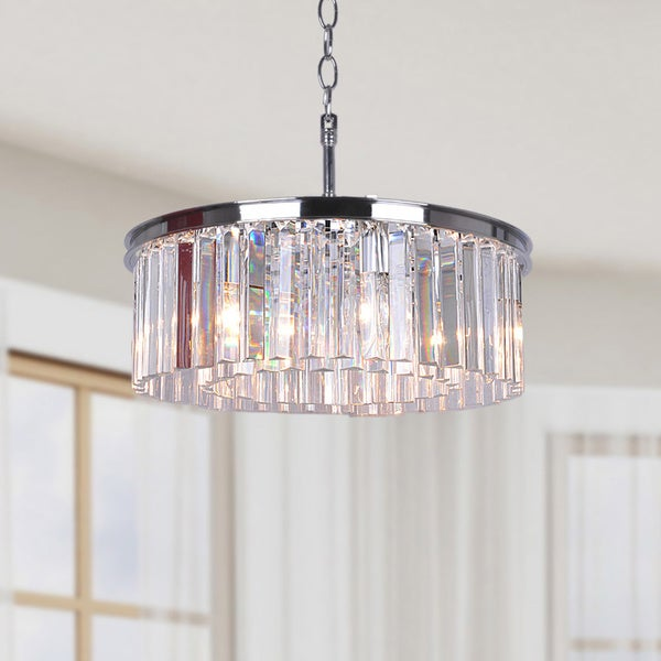 Clay Alder Home LeGore 5-light Chrome Chandelier with Crystal Glass Prisms