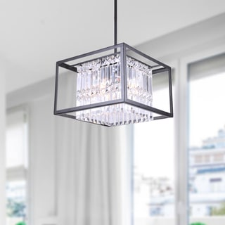 Karina Black 4-light Crystal Flush Mount Chandelier