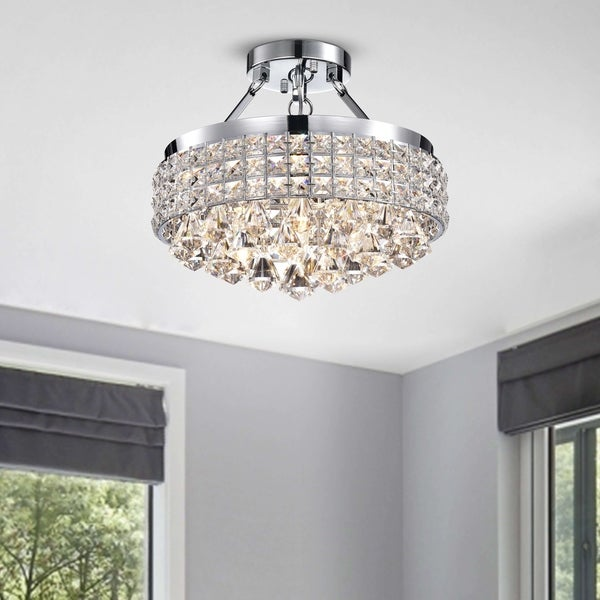 Antonia 4 Light Crystal Semi Flush Mount Chandelier With Chrome Iron Shade