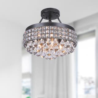Antonia 4-light Crystal Semi-flush Mount Chandelier with Antique Black Iron Shade|https://ak1.ostkcdn.com/images/products/9237715/P16404232.jpg?impolicy=medium