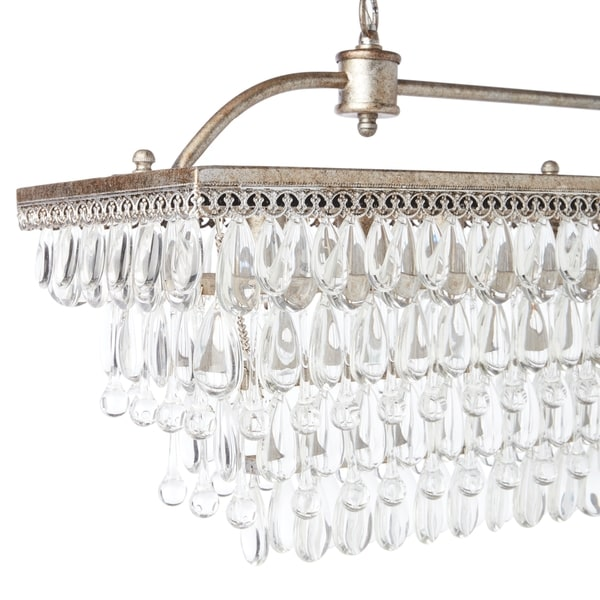 Antique Silver 6-light Rectangular Glass Droplets Chandelier - Free  Shipping Today - Overstock.com - 16404233 - Antique Silver 6-light Rectangular Glass Droplets Chandelier