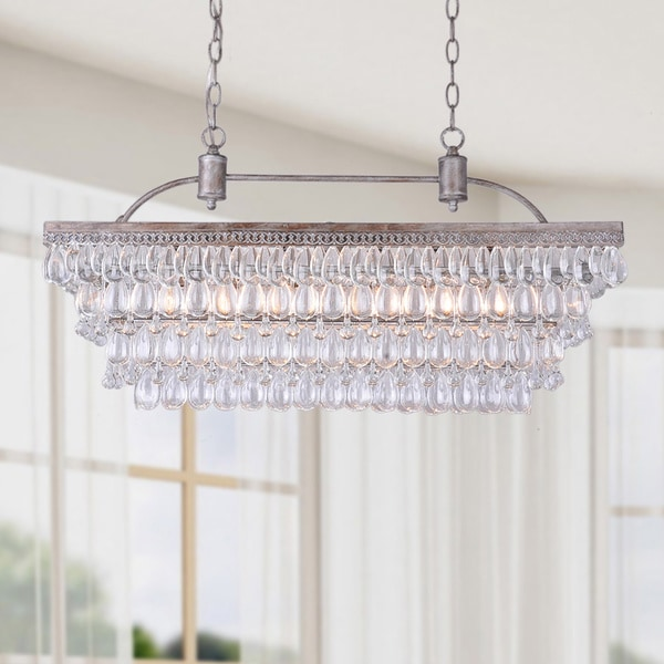 Antique Silver  Light Rectangular Glass Droplets Chandelier