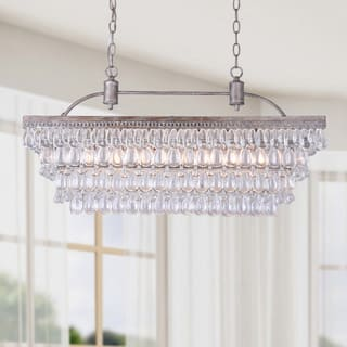 Chandeliers for less overstock silver orchid taylor antique silver 6 light rectangular glass droplets chandelier aloadofball Gallery