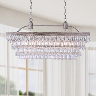 Buy antique chandeliers online at overstock our best lighting silver orchid taylor antique silver 6 light rectangular glass droplets chandelier aloadofball Images