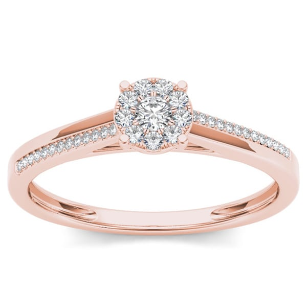 De Couer 10k Rose Gold 1 6ct TDW Diamond posite Engagement Ring Free Shi