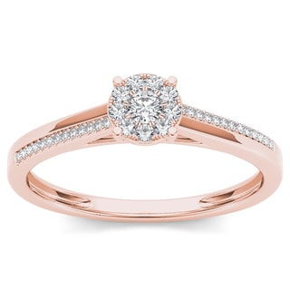 De Couer 10k Rose Gold 1/6ct TDW Diamond Composite Engagement Ring
