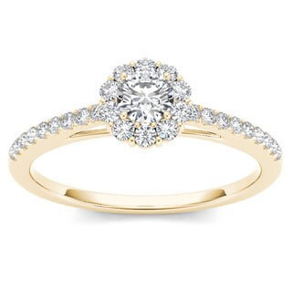 De Couer 10k Yellow Gold 1/2ct TDW Diamond Solitaire Engagement Ring (H-I, I2)