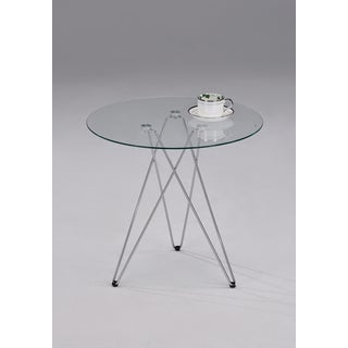 Chrome Metal Glass Round Side End Table