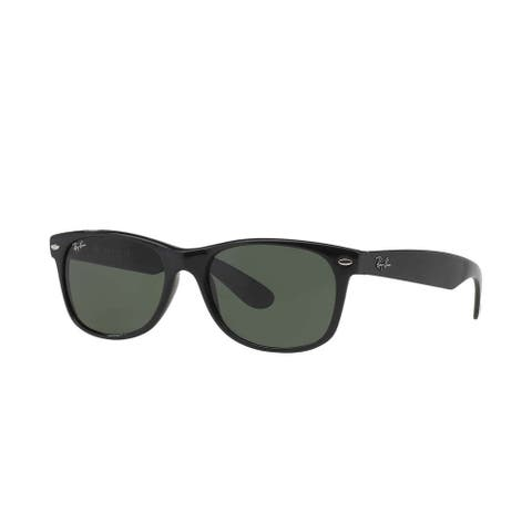 Ray-Ban New Wayfarer RB 2132 Unisex Black Frame Green Lens Sunglasses - Black/Green