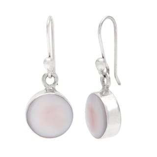 Kele & Co. Sterling Silver Pink Shell Dangle Earrings
