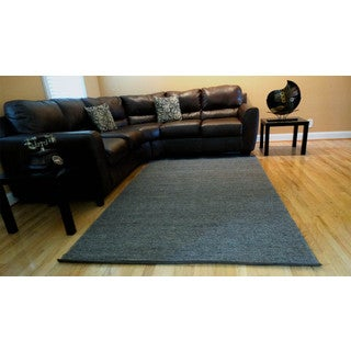 Hand-woven Solid Grey Jute Rug (5' x 8')