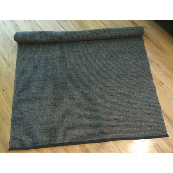 Hand-woven Dhurry Grey Jute Rug (8 'x 11')