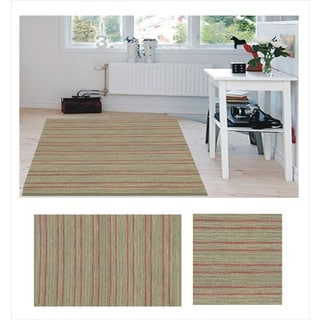 Hand-woven Red Green Jute Dhurry Rug (8' x 11')