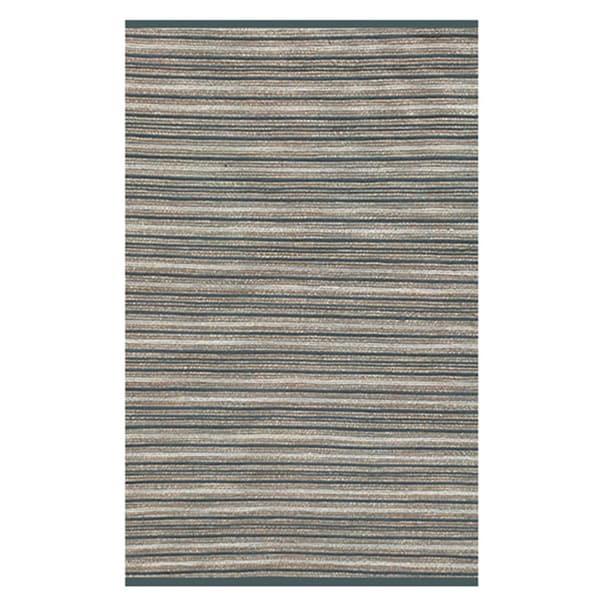 Hand-woven Beige Blue Jute Rug (5x8)